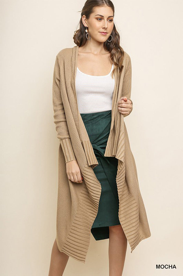 Melissa Ribbed Trim Long Cardigan : Wine
