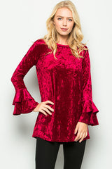 Alicia Velvet Ruffle Top : Wine