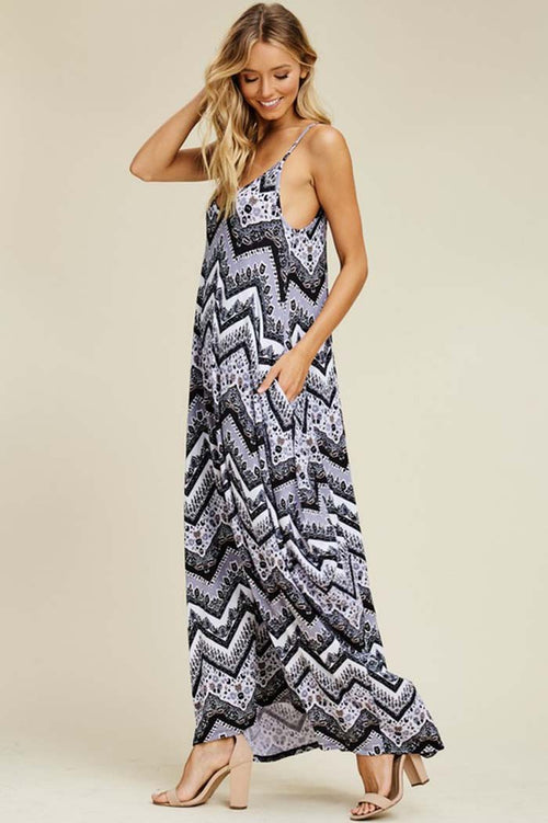 Tiffany Multi Print Maxi Dress : Black