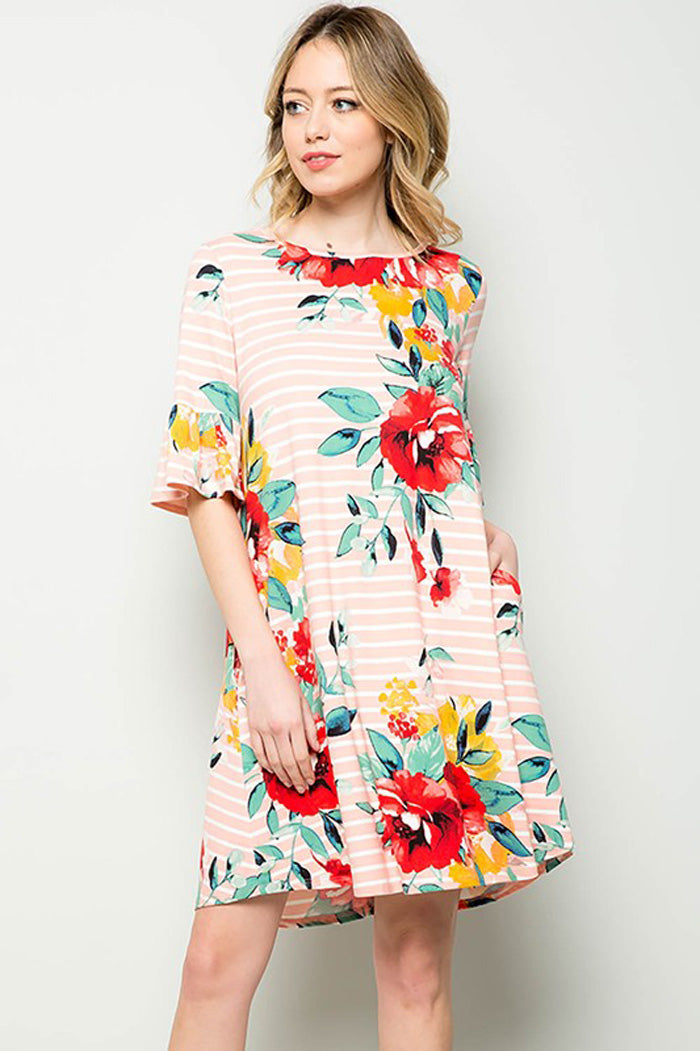 10e6a77eba Carolyn Floral Midi Dress : Blush – GOZON Boutique