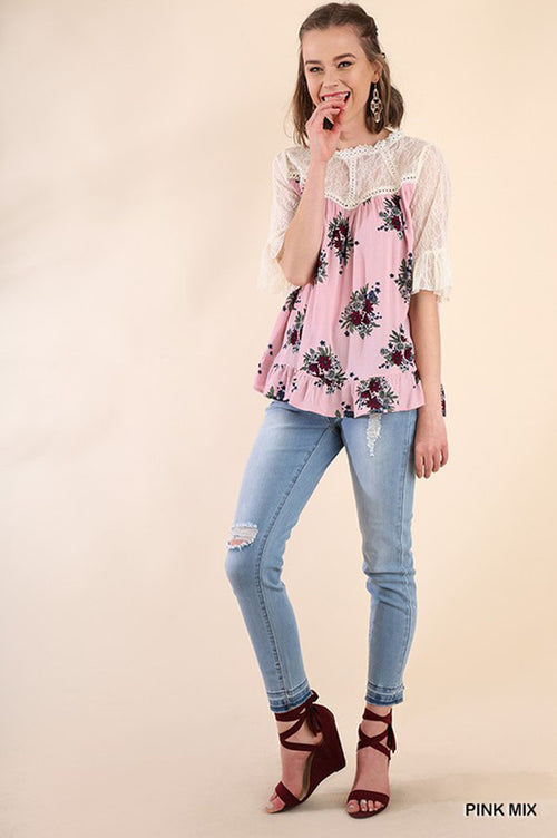 Eileen Floral Lace Top : Pink