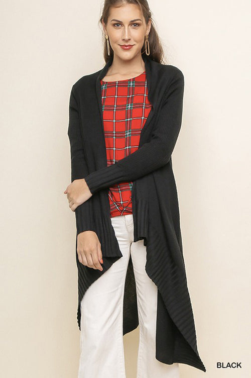 Melissa Ribbed Trim Long Cardigan : Black