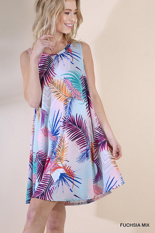 Jane Tropical Swing Dress : Fuchsia