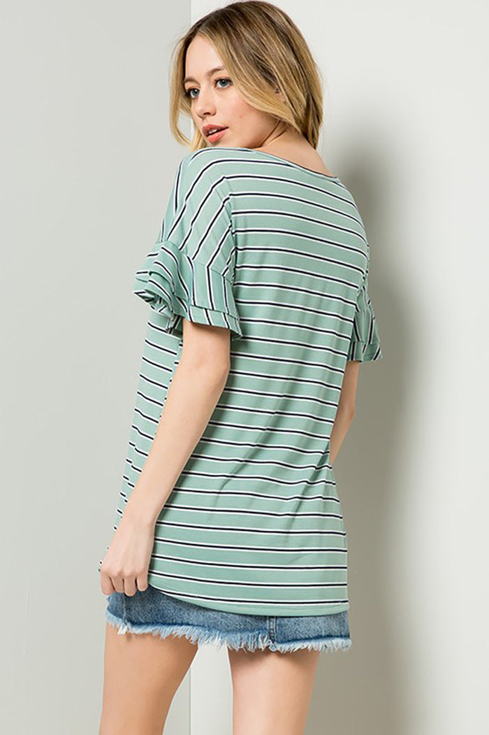 Grace Stripe Cozy Top : Mint