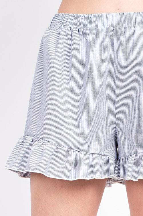 Cecilia Linen Ruffle Shorts : Denim