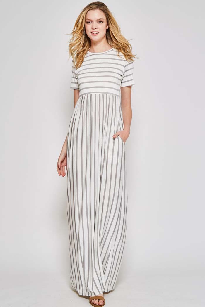 Melody Stripe Maxi Dress : Ivory/Heather Grey