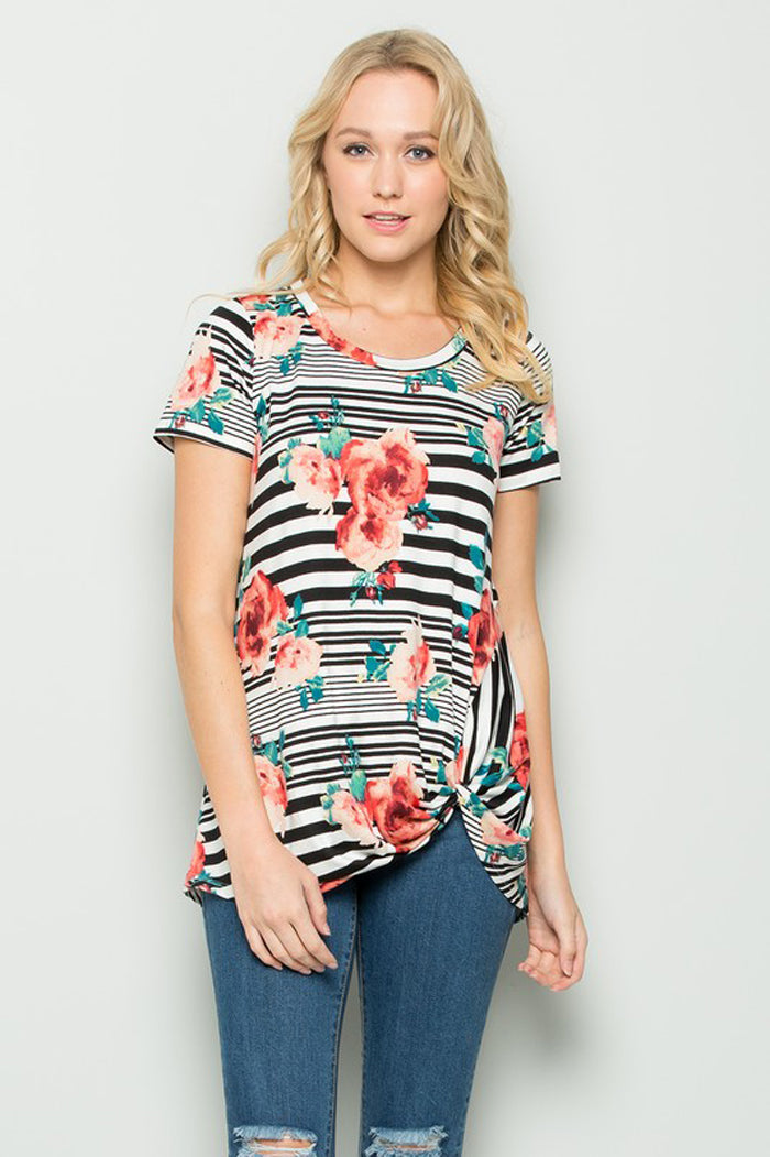 Nora Stripe and Floral Top : Chambray