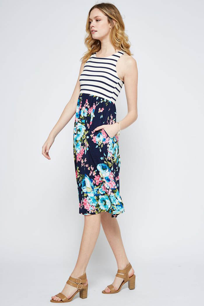 Daisy Stripe Floral Dress : Navy/Navy
