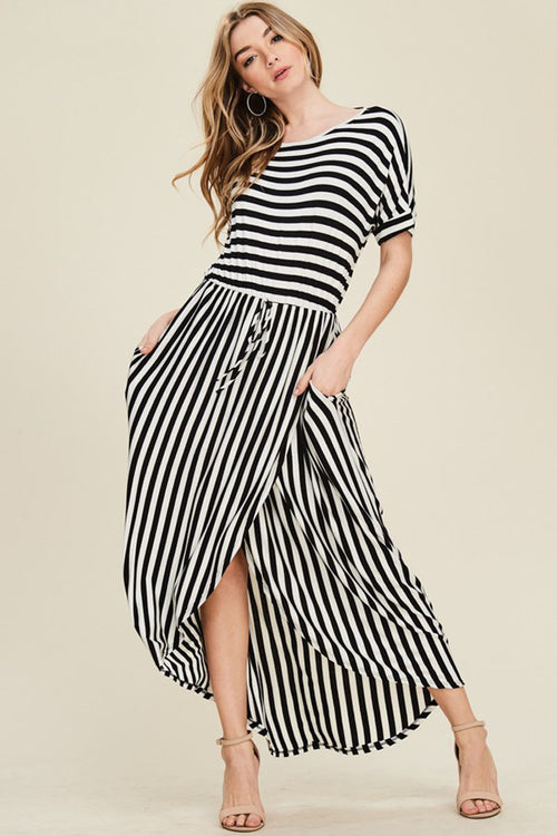 Sydney Stripe Maxi Dress : Ivory/Black
