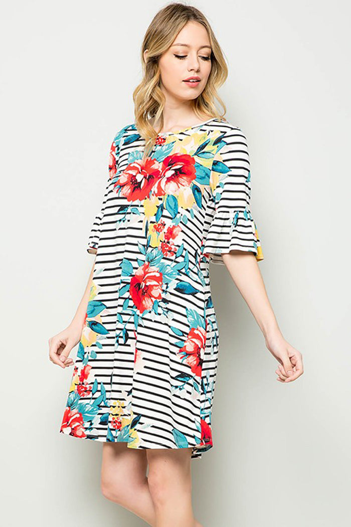 Carolyn Floral Midi Dress : Ivory/Black