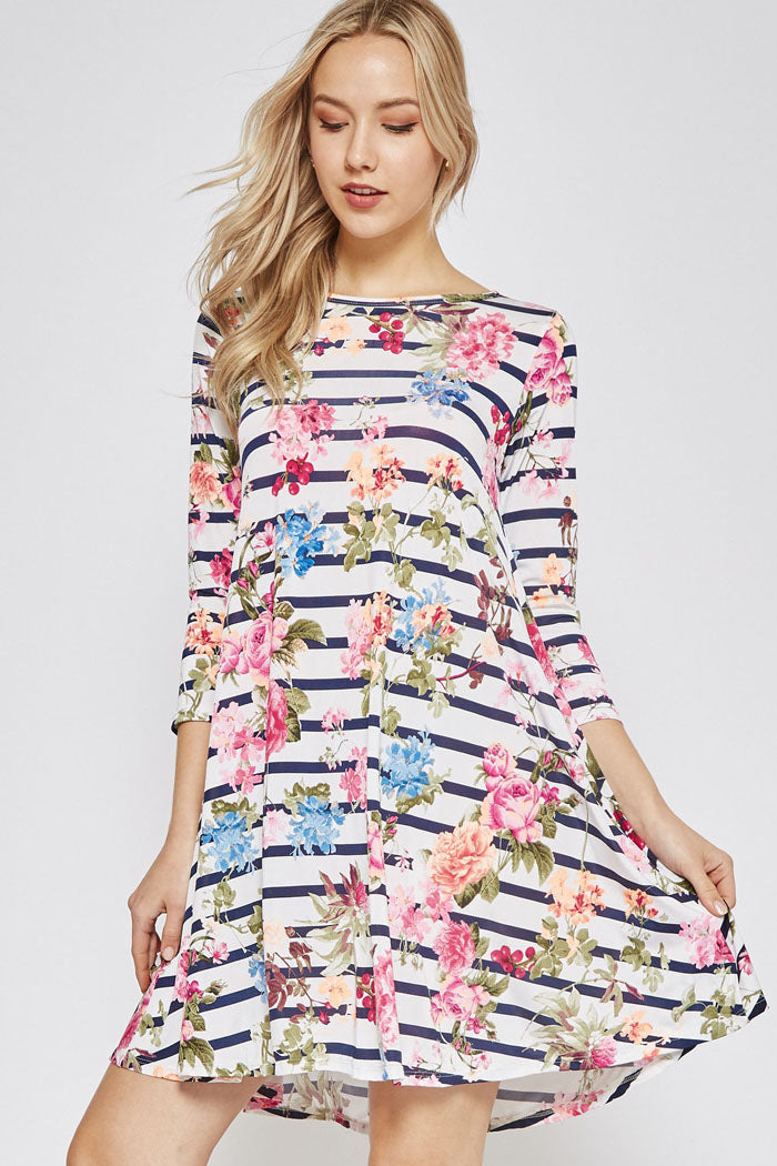 Grace Spring Floral Dress : Navy