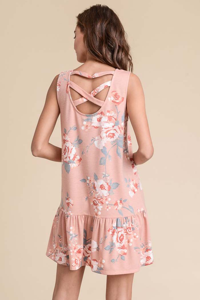 Clara Crisscross Back Dress : Rose