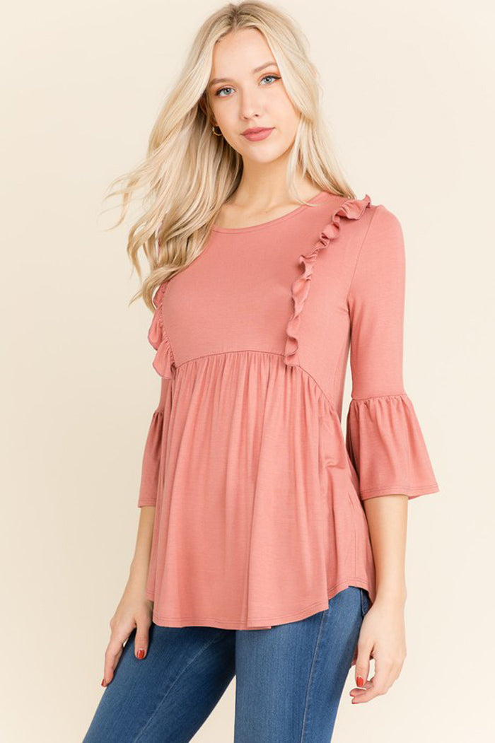 Reese Ruffle Tunic Top : Violet