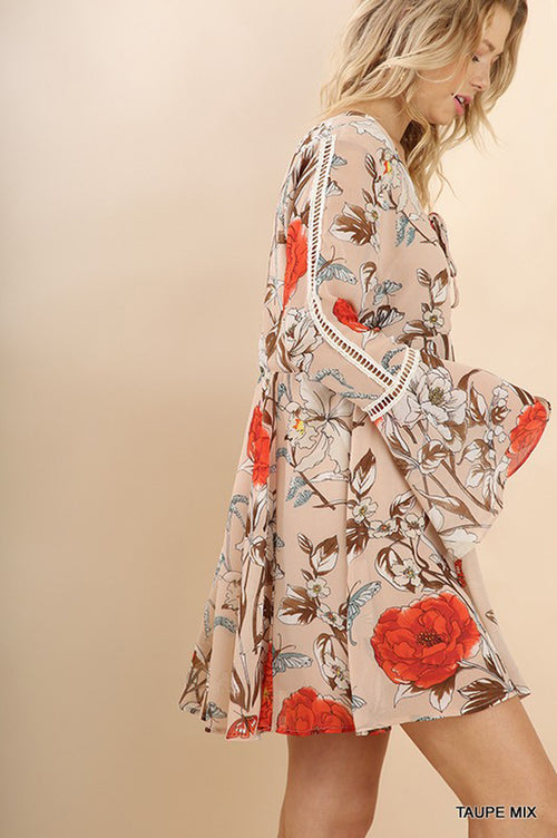 Carolina Floral Boho Dress : Taupe