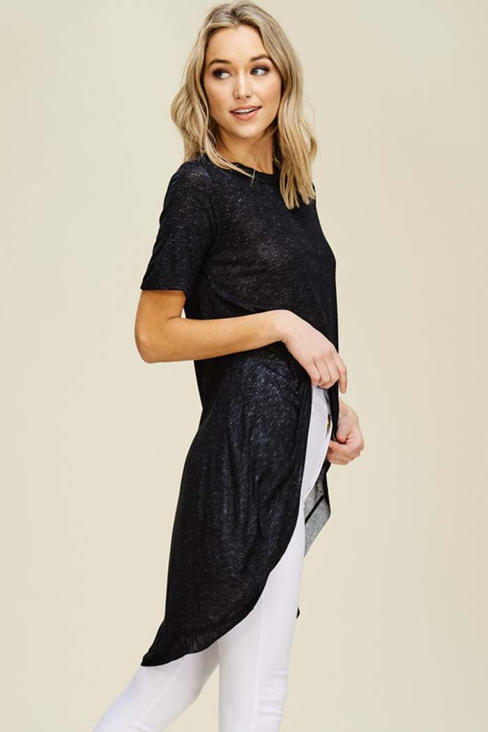 Chloe High-Low Tunic Top : Black