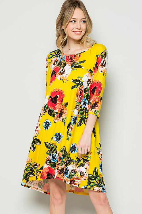 Sarah Floral Swing Dress : Yellow