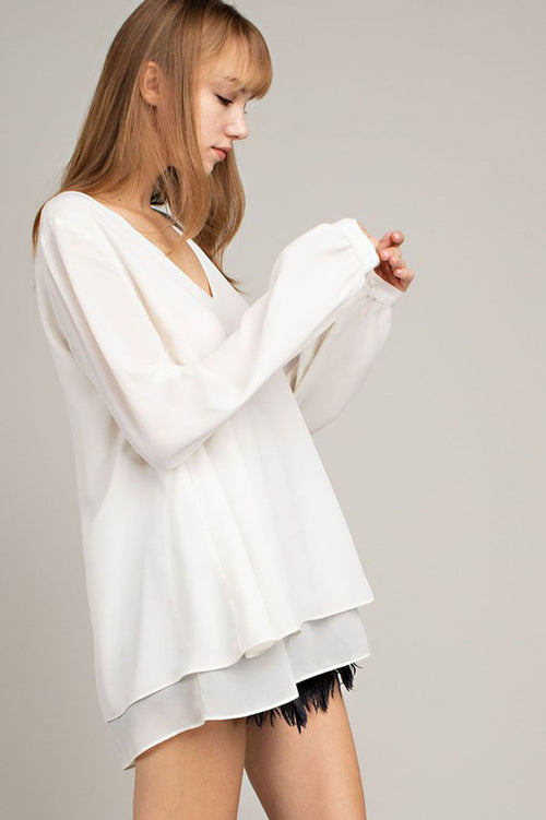 Kim V-Neck Double Layer Top : Ivory