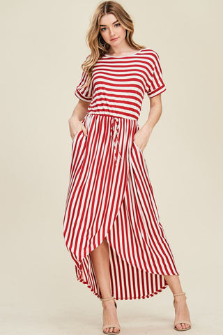 Stripe Midi Dress : Ivory/Black