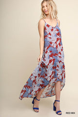 Ashlee Tropical Leaf Maxi Dress : Red