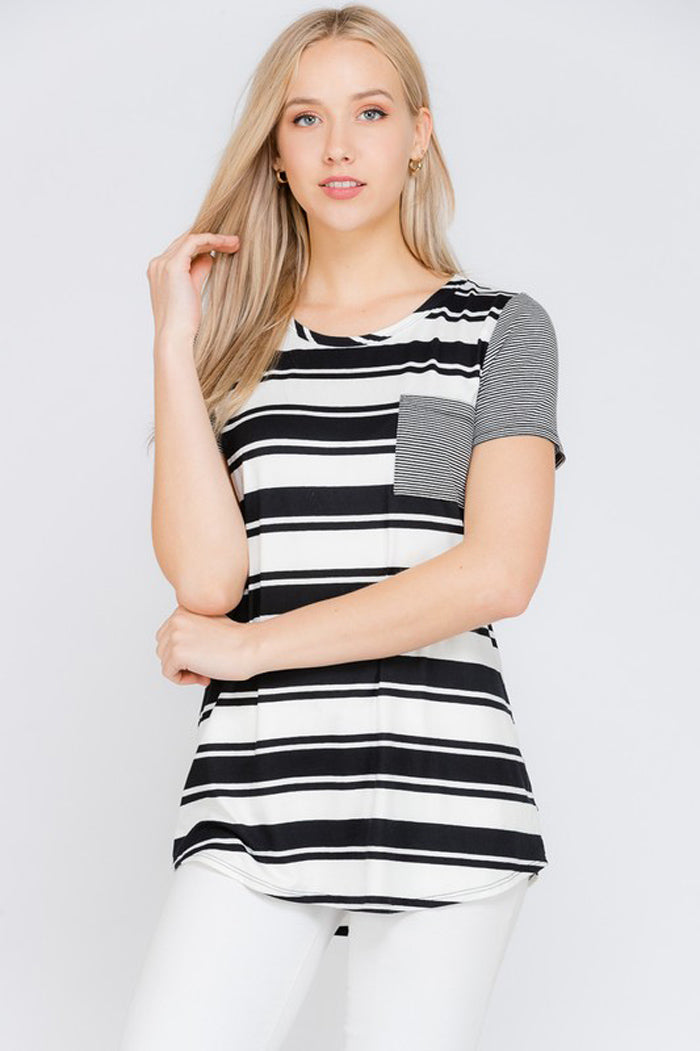 Elsa Stripe Pocket Top : Black