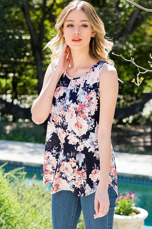 Gloria Floral Sleeveless Tunic : Navy