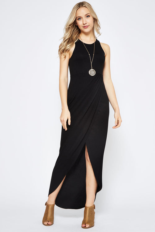 Elliot Wrap Skirt Maxi Dress : Black