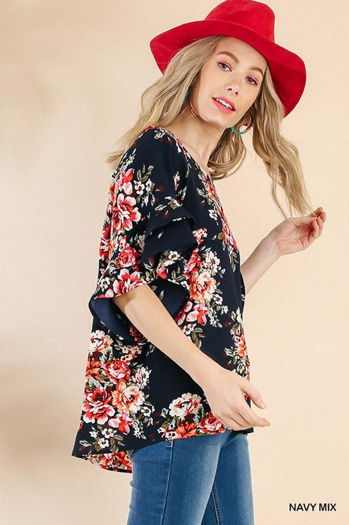 Lucia Floral Print Top : Navy