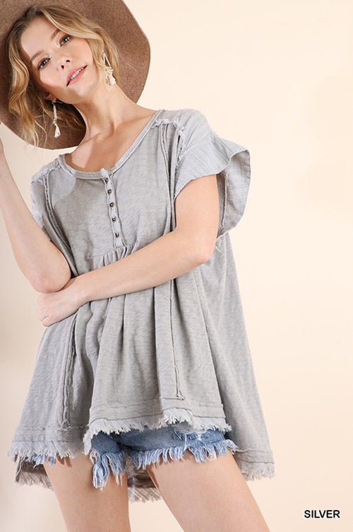 Valeria Button Up Tunic : Silver