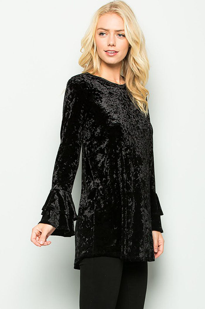 Alicia Velvet Ruffle Top : Black