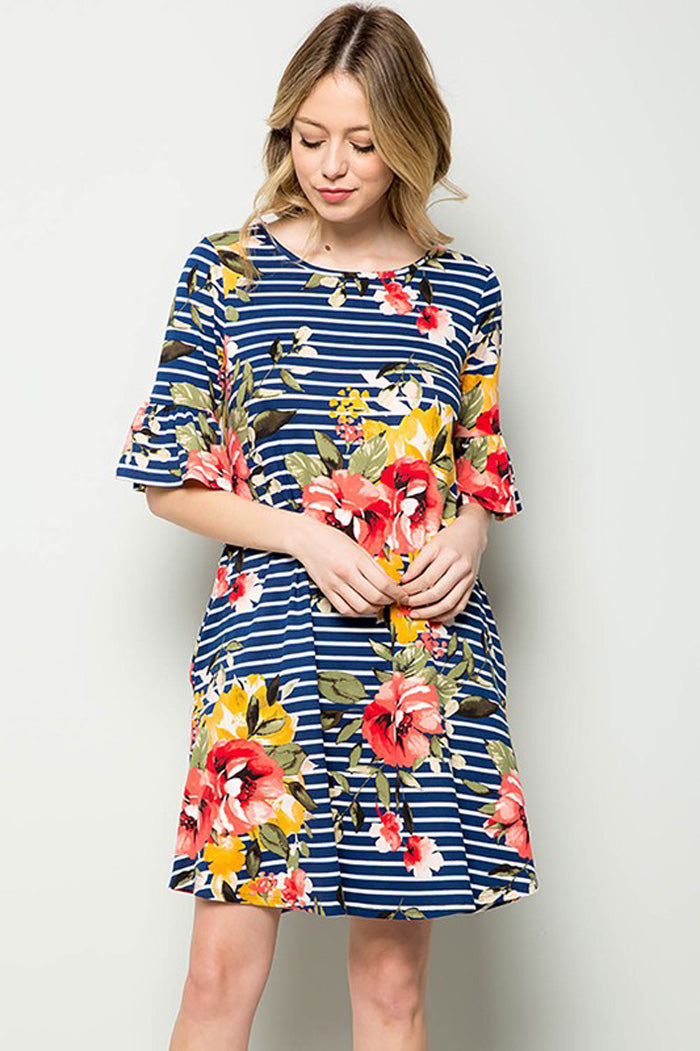 Carolyn Floral Midi Dress : Navy