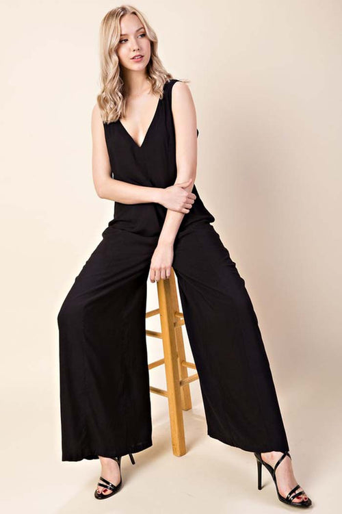 Alisha Lace-Up Jumpsuits : Black
