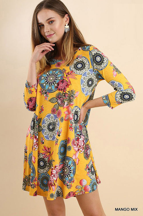 Aubree Medallion Swing Dress : Mango