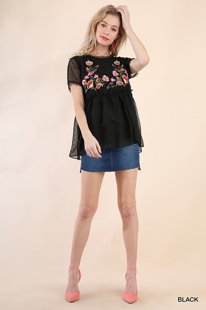 Shana Sheer Floral Top : Black