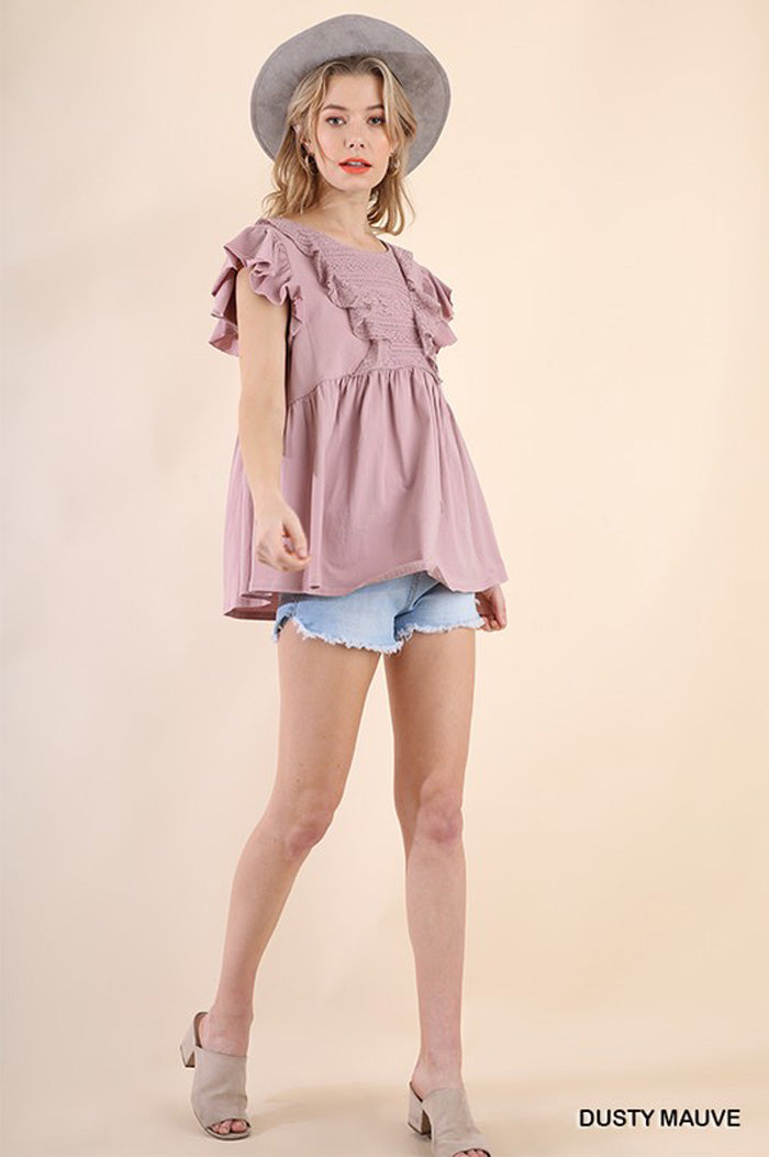 Taylor Crochet Yoke Top : Dusty Mauve