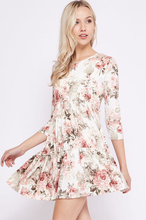 Anna Floral Layered Dress : Ivory/Mauve