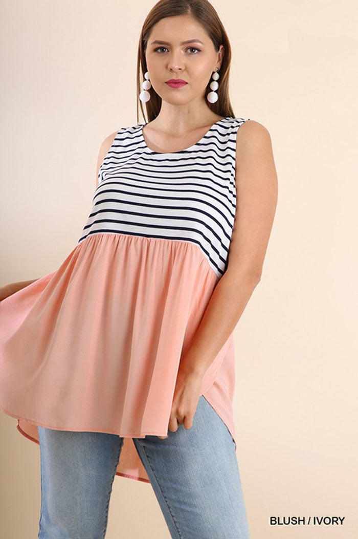 Piper Tulip Hem Top Plus : Blush/Ivory