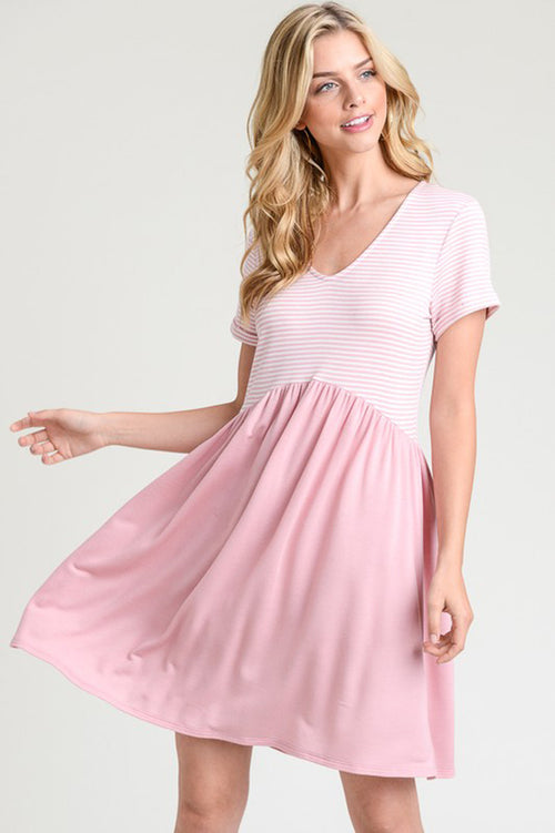 Ariana Stripe Babydoll Dress : Rose