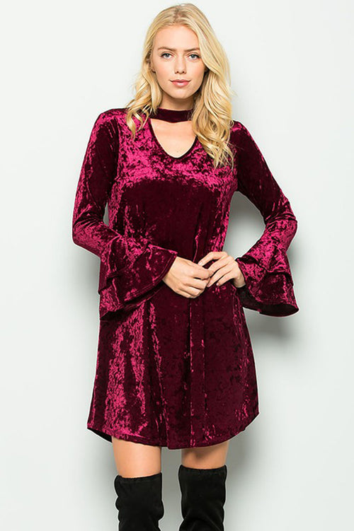 Harriet Velvet Keyhole Dress : Raisin