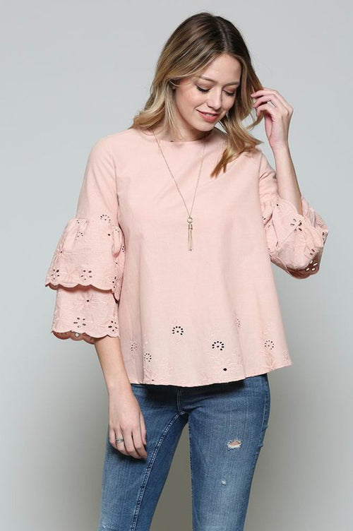 Michelle Embroidery Top : Blush
