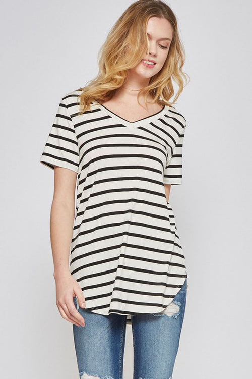 Sophie Stripe V-Neck Top : Ivory/Black