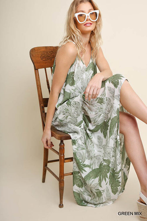 Ashlee Tropical Leaf Maxi Dress : Green