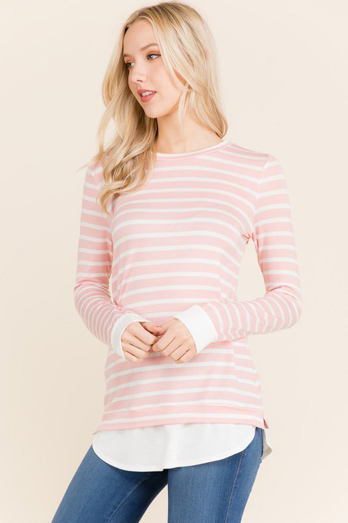 Mary Stripe Spring Top : Blush
