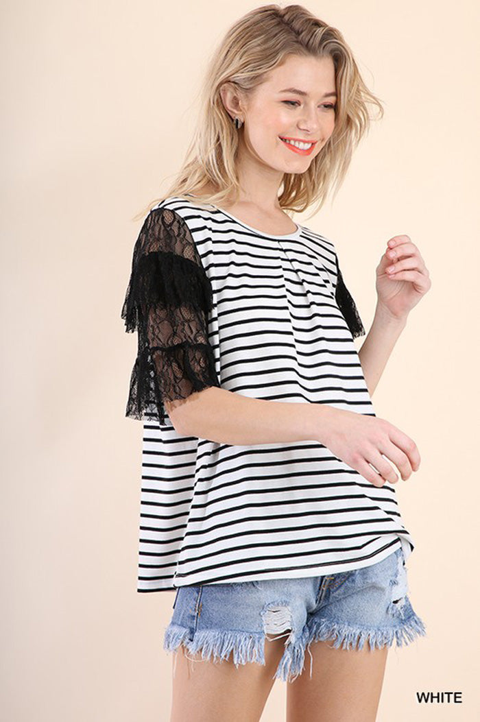 Shannon Lace Sleeve Top : White