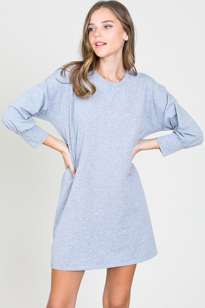 Hazel Puffy Sleeve Dress : Heather Grey
