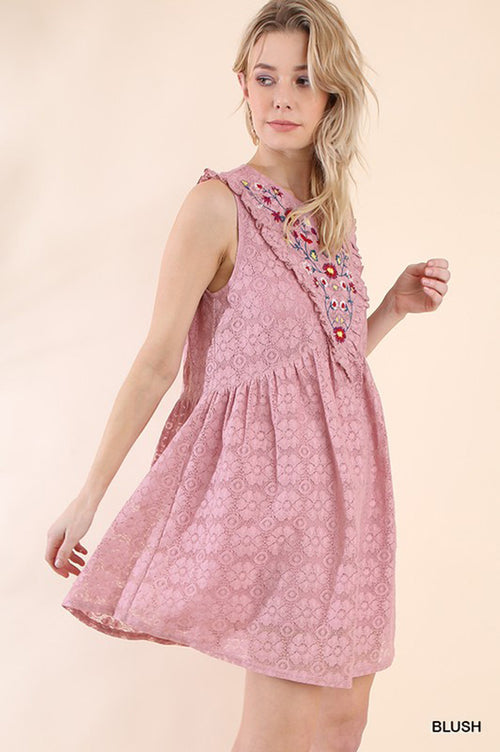 Camila Floral Embroidered Dress : Blush