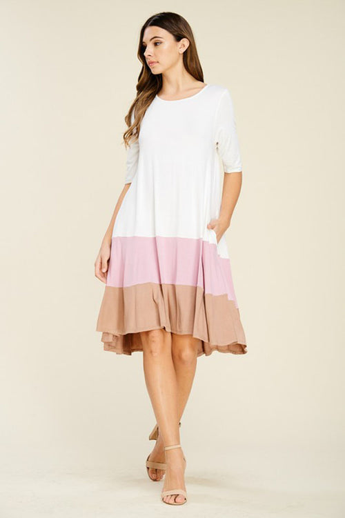 Mary Color Block Dress : Light Mauve
