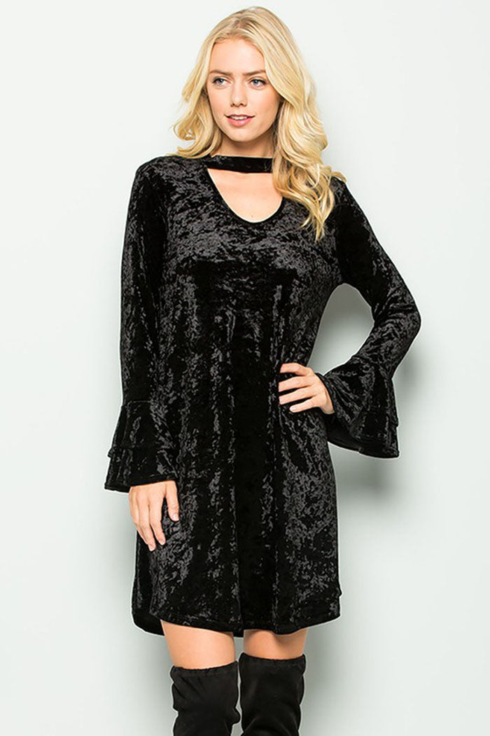 Harriet Velvet Keyhole Dress : Charcoal