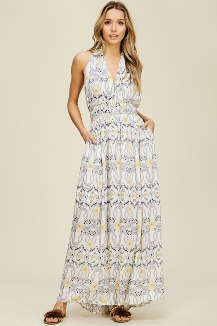 Hannah Open Back Maxi Dress : Blue