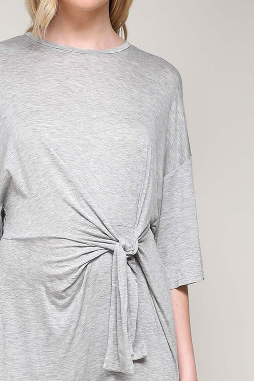 Abbie Tied Jersey Jumpsuits : Heather Grey
