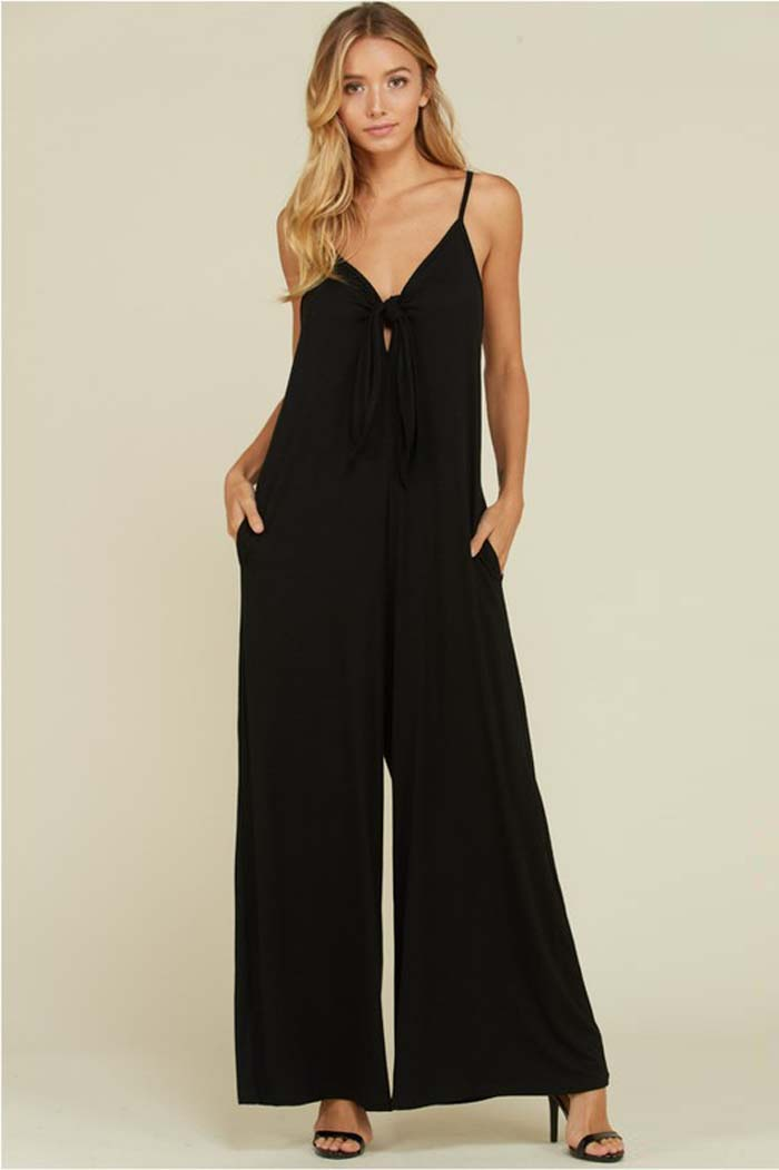 Chessie Front Ribbon Jumpsuits : Black